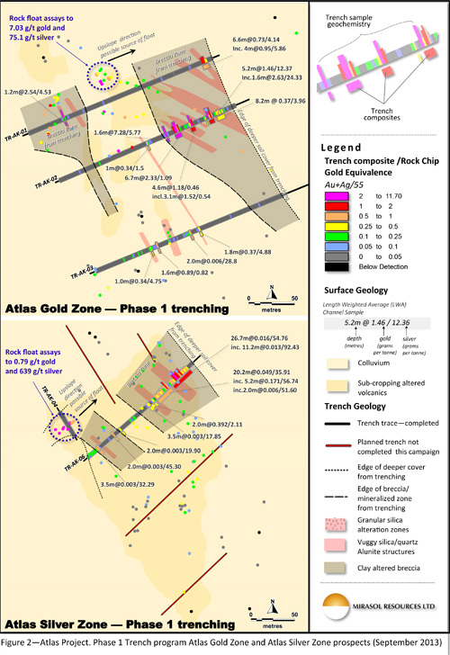 Figure 2 – Atlas Project. Phase 1 Trench program Atlas Gold Zone and Atlas Silver Zone prospects (September 2013)