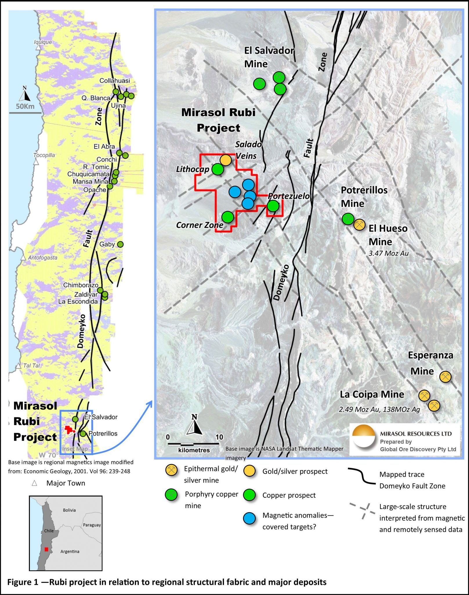 Figure 1 – Rubi project in relation to regional structural fabric and major deposits