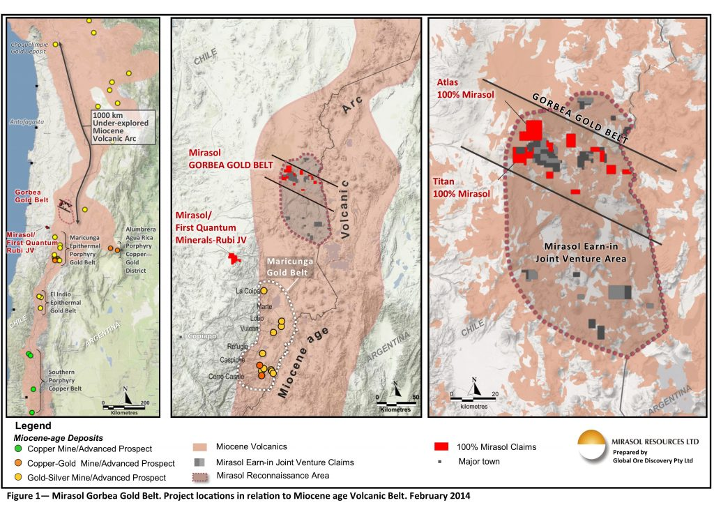 Figure 1 – Mirasol Gorbea Gold Belt. Project location in relation to Miocene age Volcanic Belt. February 2014