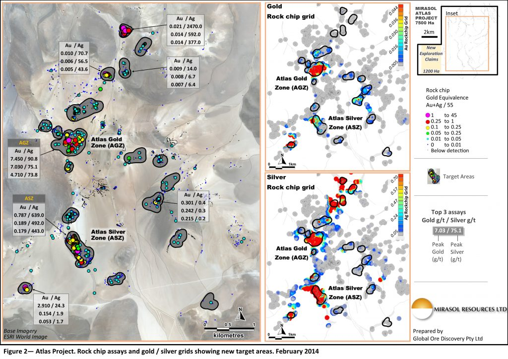 Figure 2 – Atlas Project. Rock chip assays and gold / silver grids showing new target areas. February 2014