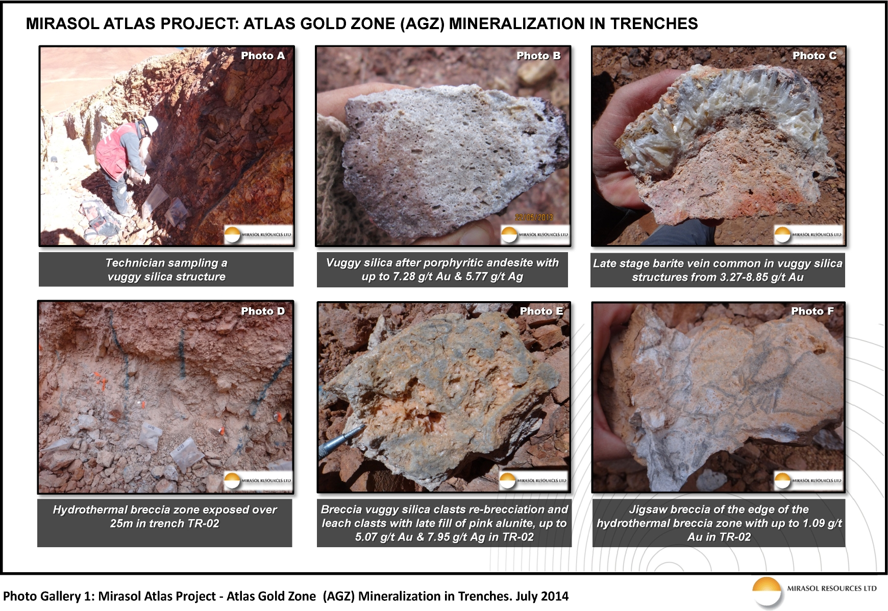 Photo Gallery 1: Mirasol Atlas Project – Atlas Gold Zone (AGZ) Mineralization in Trenches. July 2014