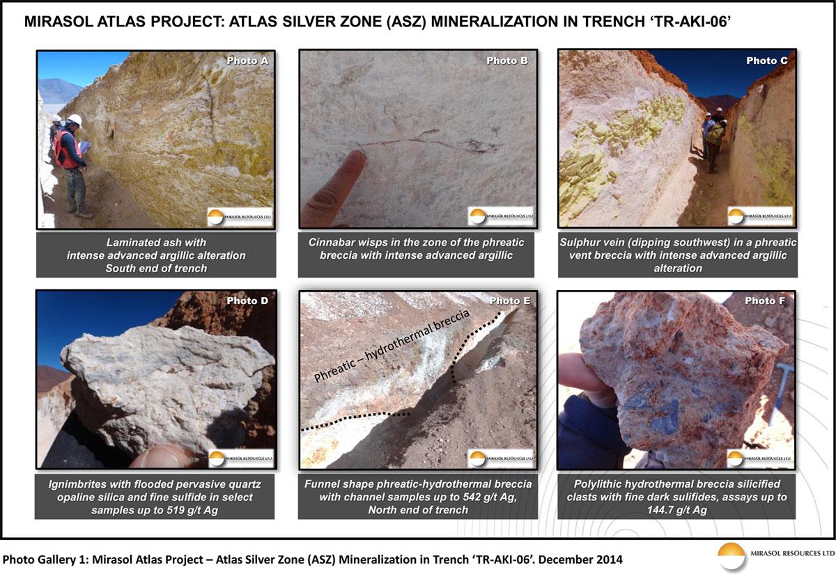 Photo Gallery 1: Mirasol Atlas Project - Atlas Silver Zone (ASZ) MIneralization in Trench 'TR-AKI-06'. December 2014