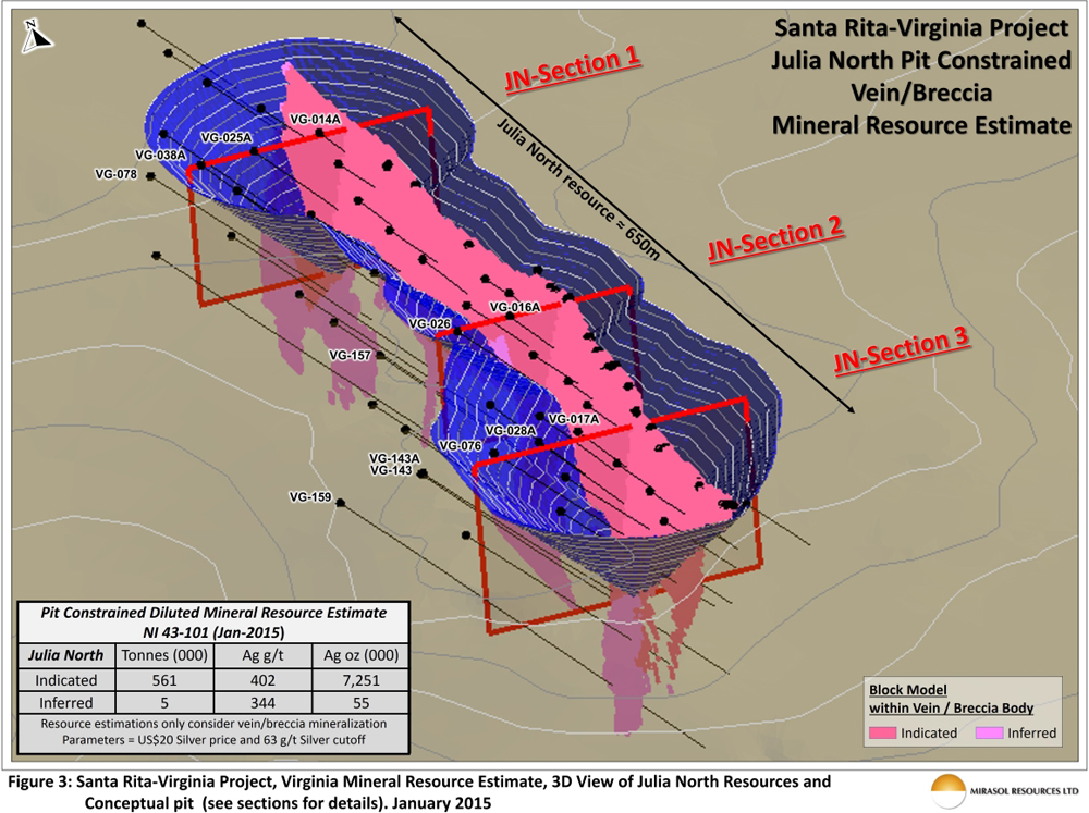 Figure 3: Santa Rita-Virginia Project, Virginia Mineral Resource Estimate, 3D View of Julia North Resources and Conceptual pit (See section for details). January 2015