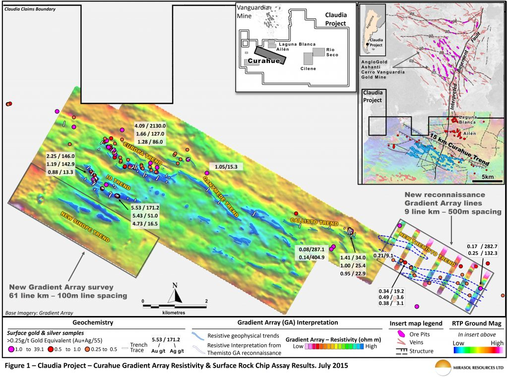 Figure 1 – Claudia Project – Curahue Gradient Array Resistivity & Surface Rock Chip Assay Results. July 2015
