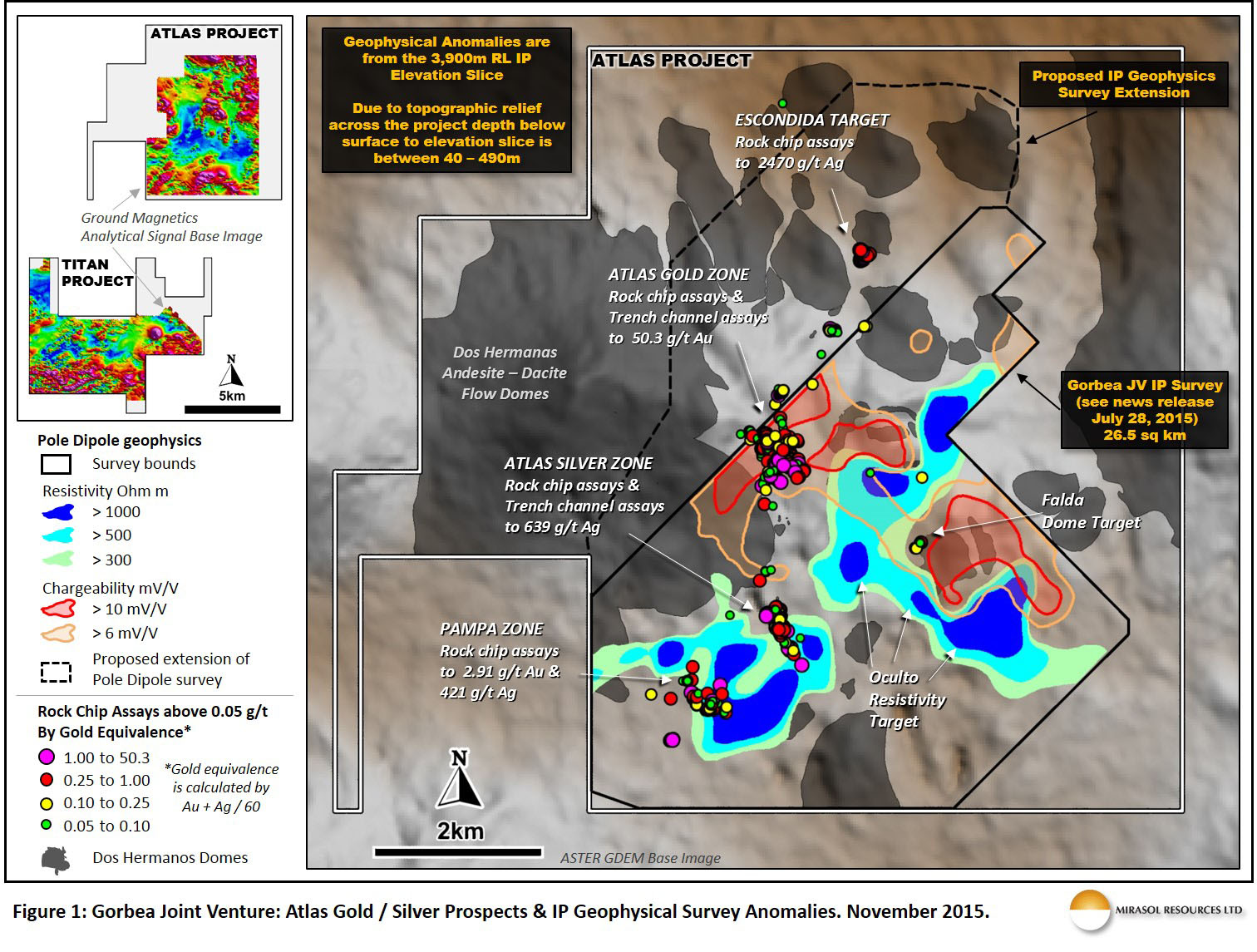 Figure 1: Gorbea Joint Venture: Atlas Gold / Silver Prospects & IP Geophysical Survey Anomalies. November 2015.