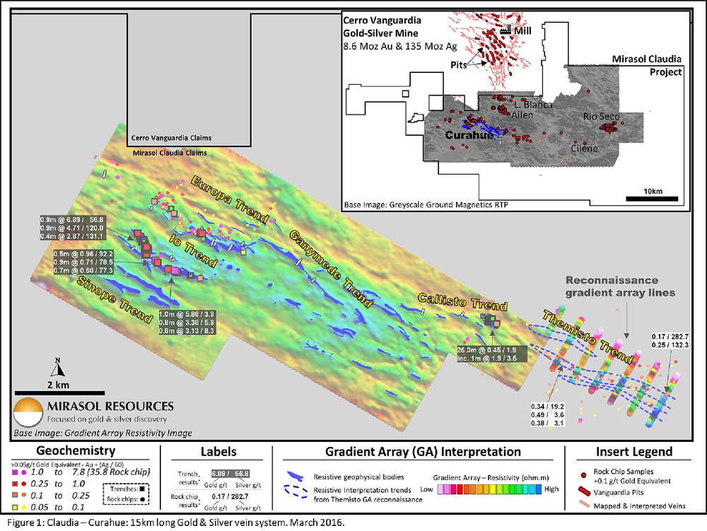 Figure 1: Claudia – Curahue: 15km long Gold & Silver vein system. March 2016.