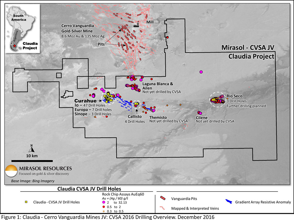 Figure 1: Claudia – Cerro Vanguardia Mines JV: CVSA 2016 Drilling Overview. December 2016