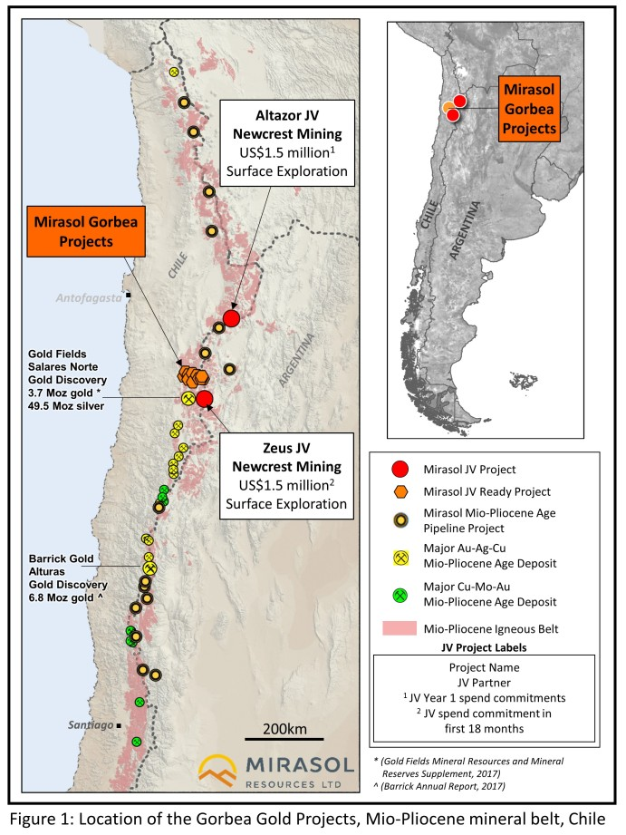 Figure 1: Location of the Gorbea Gold Projects, Mio-Pliocene mineral belt, Chile