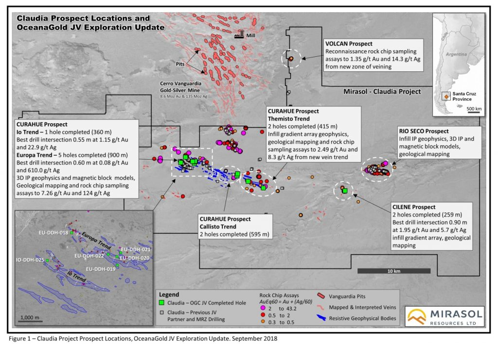 Figure 1 – Claudia Project Prospect Locations, OceanaGold JV Exploration Update. September 2018